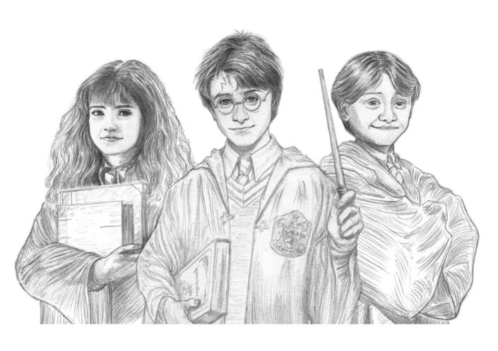 Illustracion Custom graphite Harry, Ron and Hermione BcnPottercon 2017