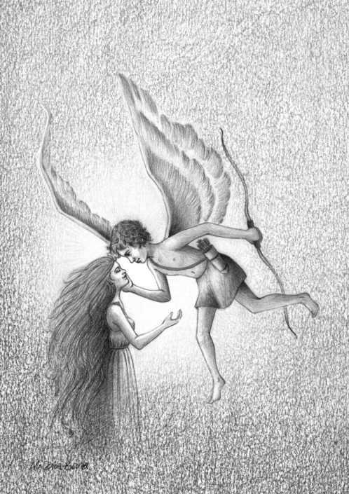 Illustration fantasy graphite Cupid and Psyche