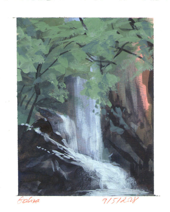 Watercolour Landscape Painting Colour Study Waterfall