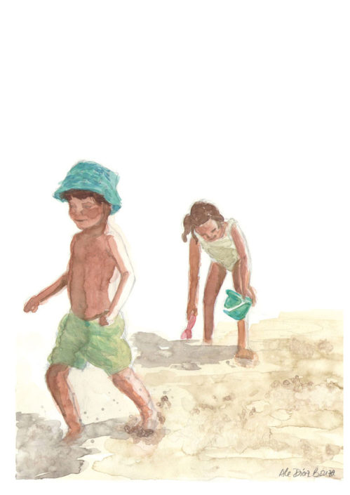Watercolour sketchbook children at the beach