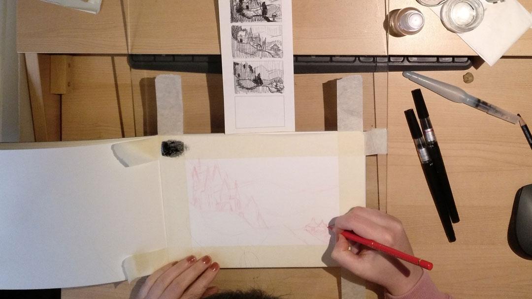 alediazbouza inktober 2018 WIP Hogwarts castle sketch
