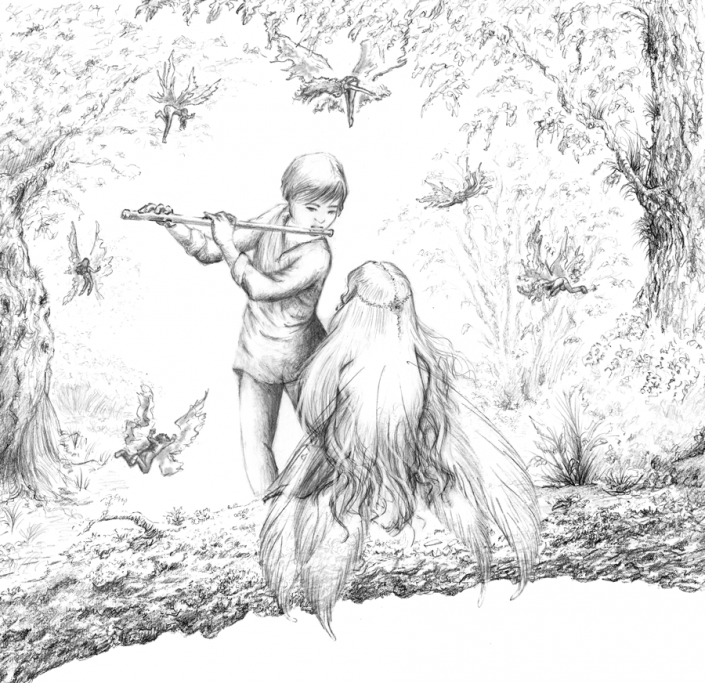 Music and fairies - Illustration Graphite