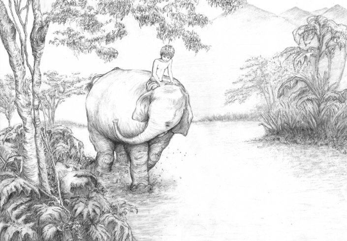 The boy and the elephant - Illustration Graphite