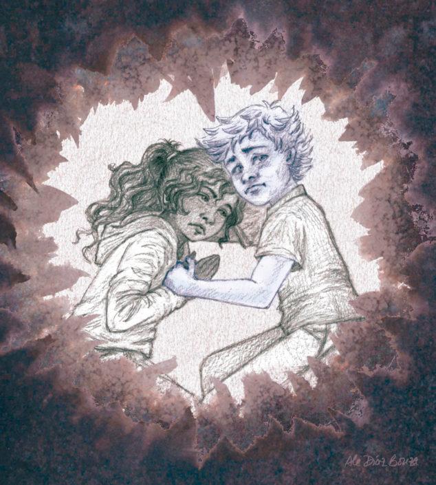 Trece días para arreglar a papá - Ilustración - Zir y Jaya en el bosque