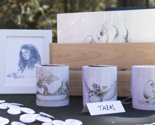 My illustrated products at Avalon Summer Faerie Fest - Children´s Fantasy Illustration - Mugs