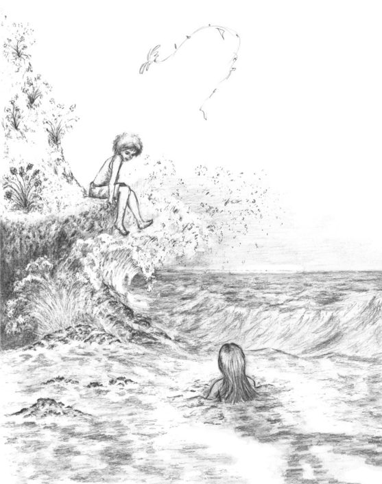 Illustration Fairytales graphite mermaid