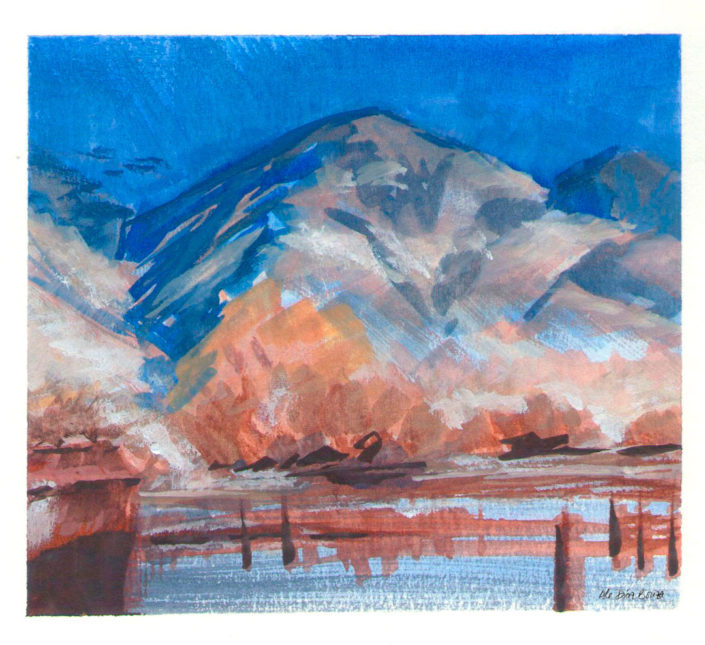 Watercolour landscape painting farm at the mountains